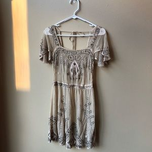 Free People Beaded Mini Dress with Tie Back Detail